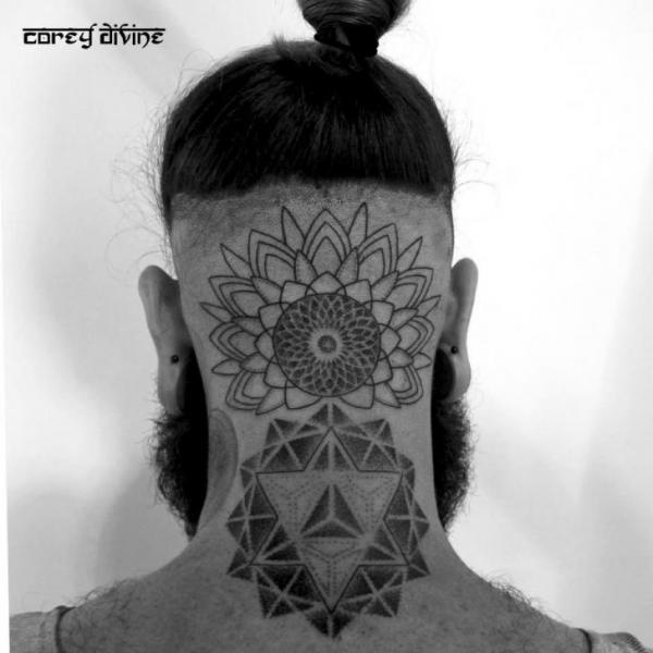 geometric neck tattoo 11