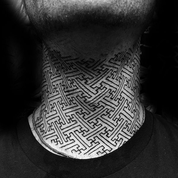 geometric neck tattoo 2