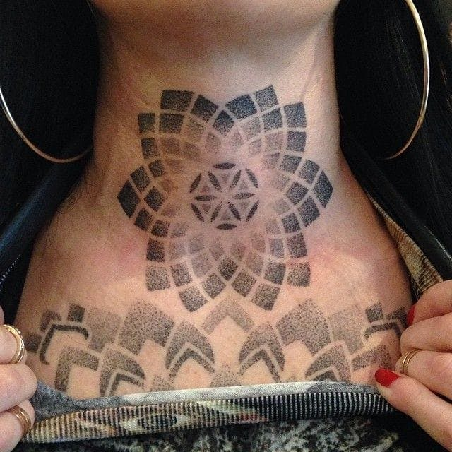geometric neck tattoo 3