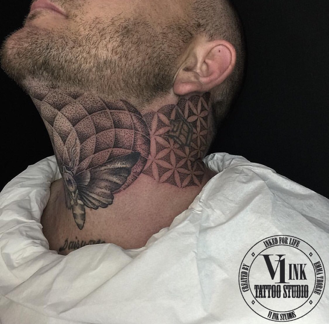 geometric neck tattoo 6