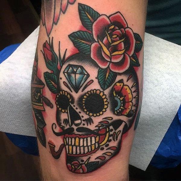 men's sugar skull tattoo 1