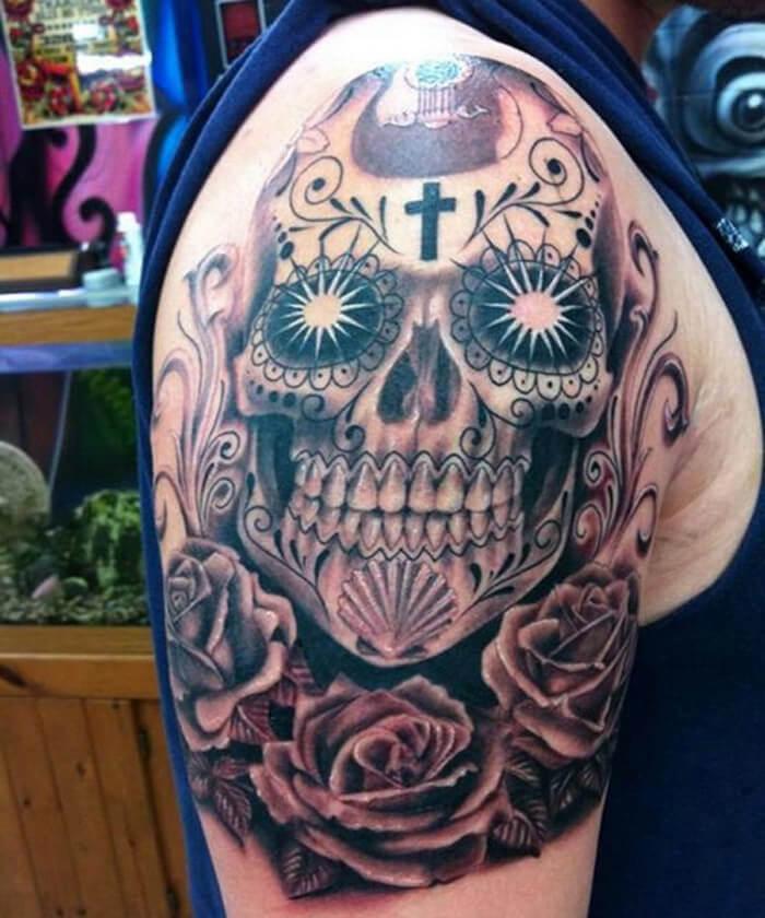 men's sugar skull tattoo 3