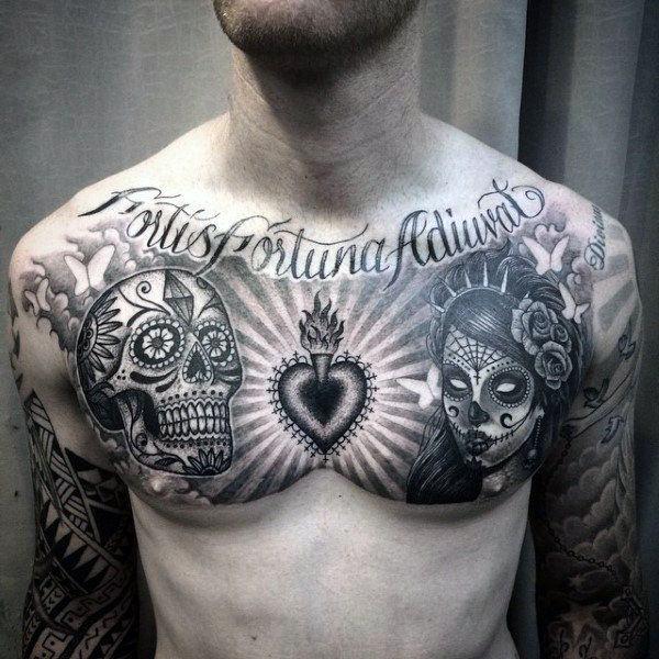 men's sugar skull tattoo 7