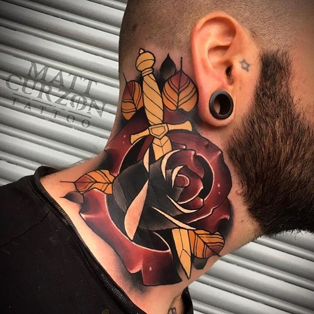 neotraditional neck tattoo 6