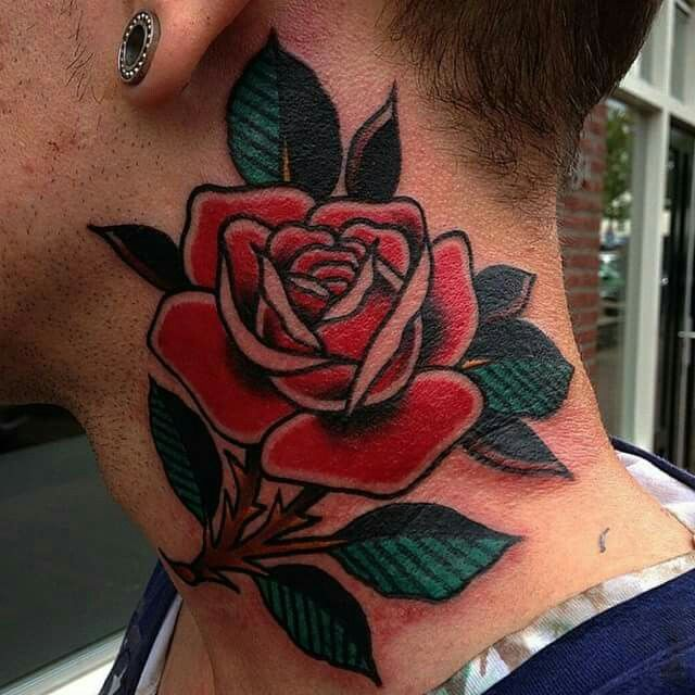 neotraditional neck tattoo 9