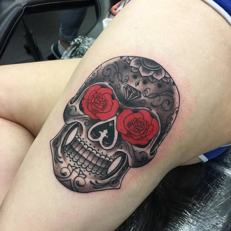 sugar skull tattoo 4