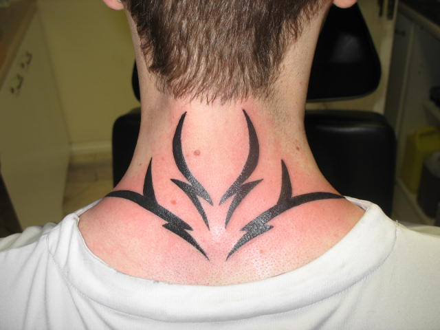 tribal neck tattoo 11