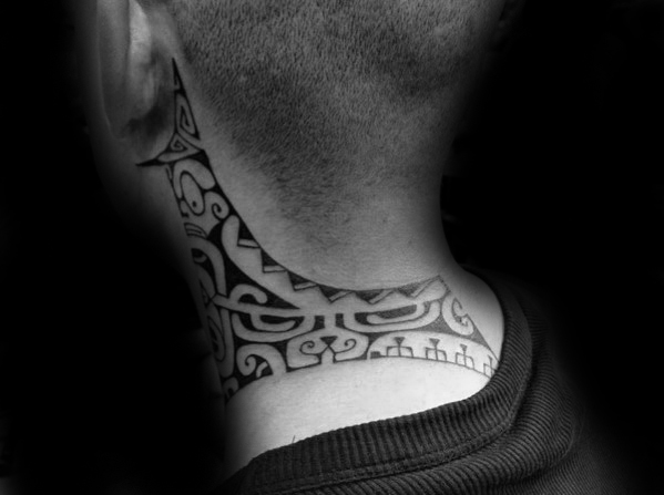 tribal neck tattoo 3