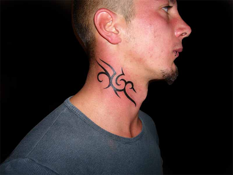 tribal neck tattoo 5