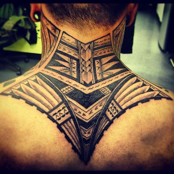 tribal neck tattoo 6