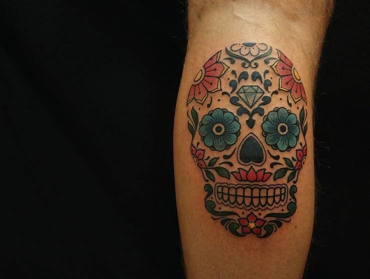 watercolor sugar skull tattoo 1