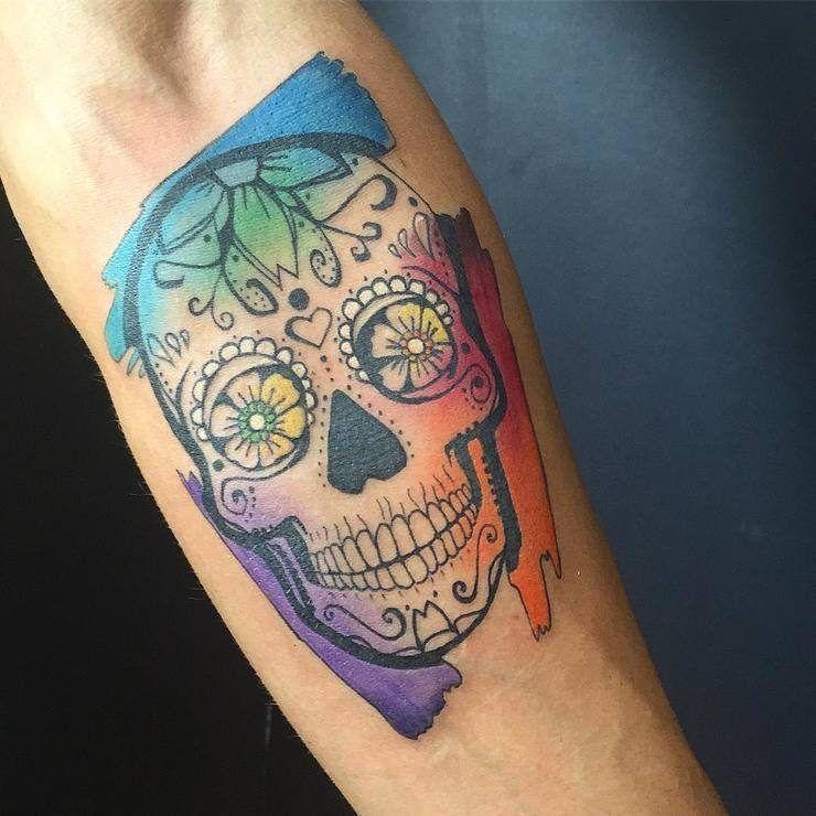 watercolor sugar skull tattoo 2