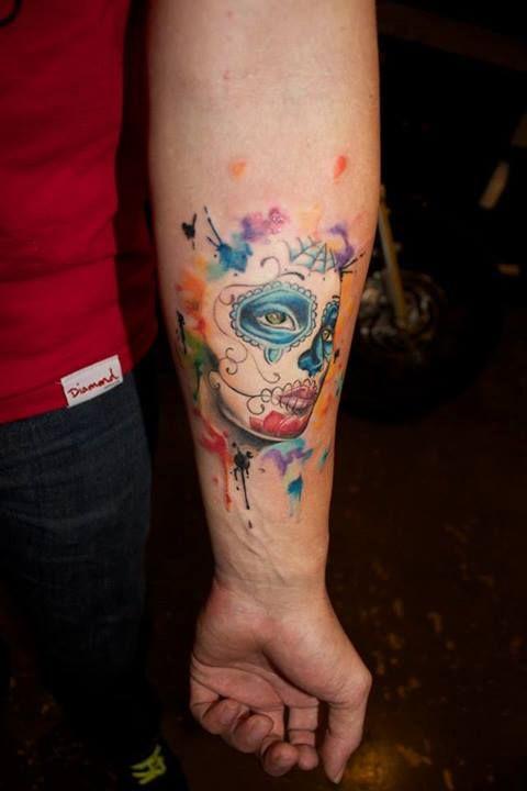 watercolor sugar skull tattoo 3