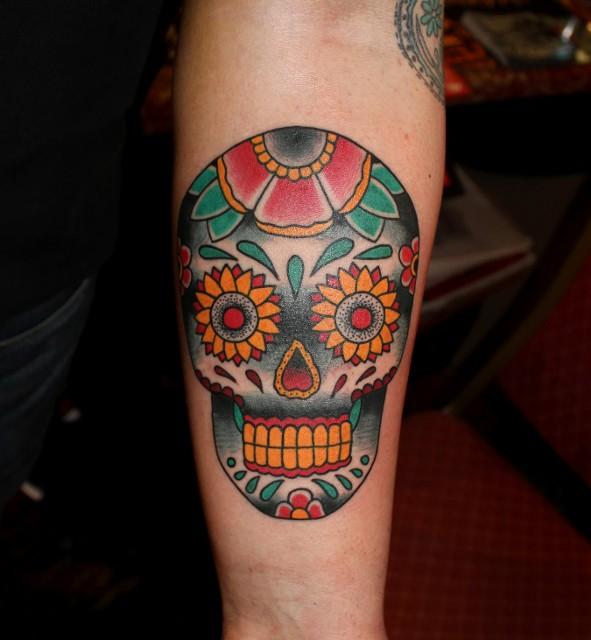 watercolor sugar skull tattoo 4