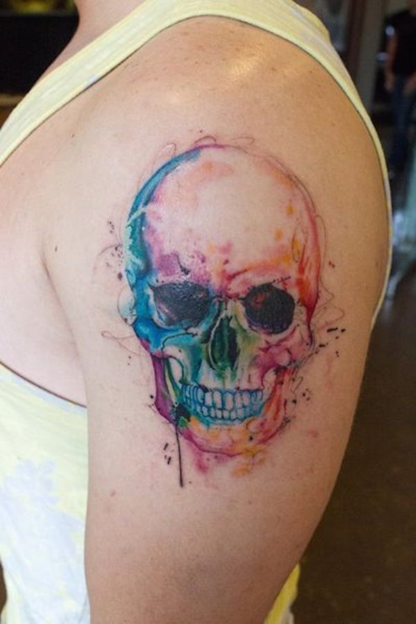 watercolor sugar skull tattoo 7