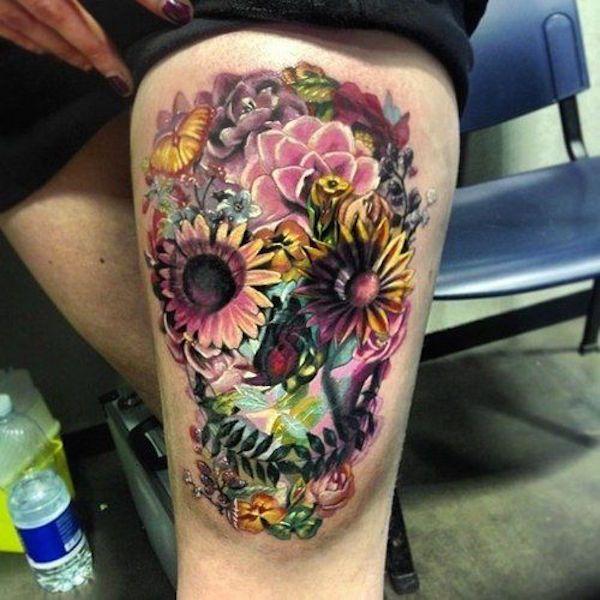 watercolor sugar skull tattoo 8