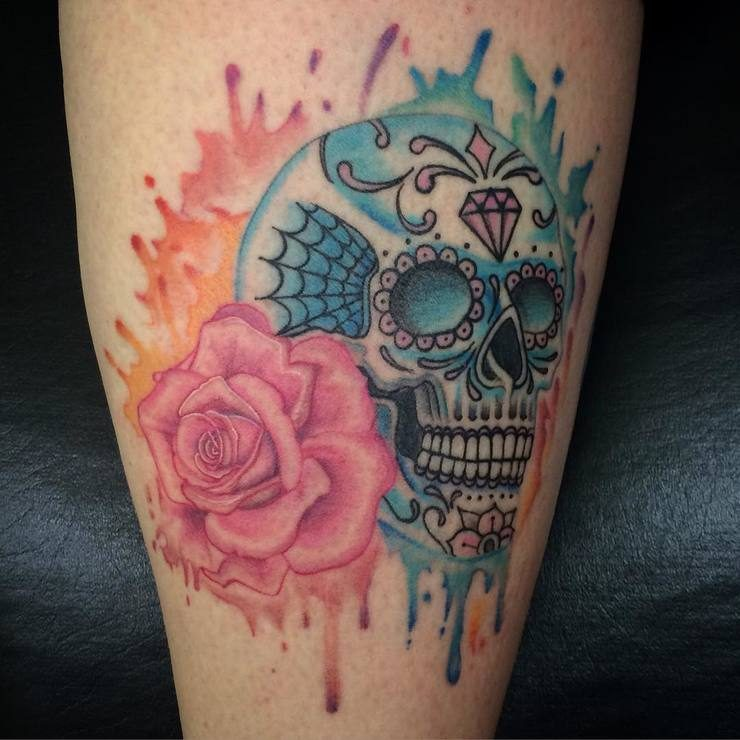 watercolor sugar skull tattoo