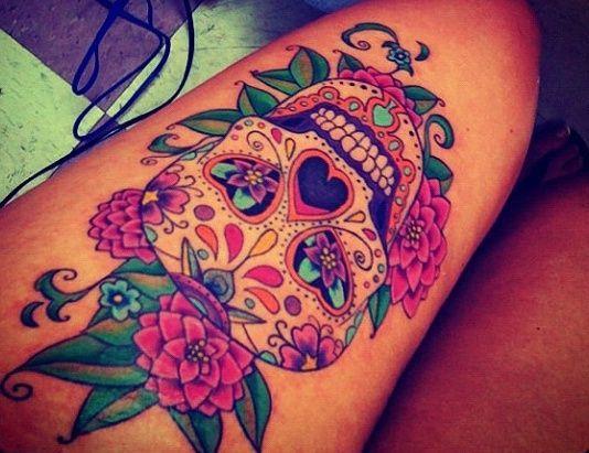 women's sugar skull tattoo 1