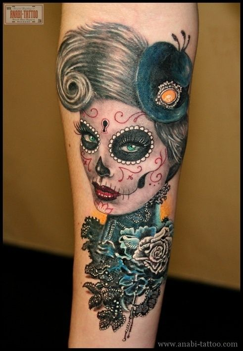 women's sugar skull tattoo 10
