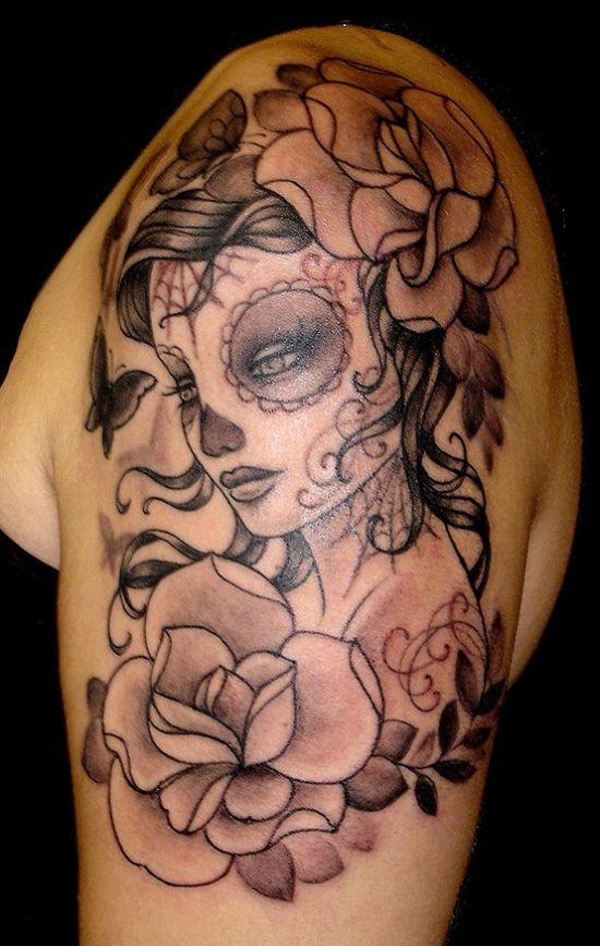 women's sugar skull tattoo 2