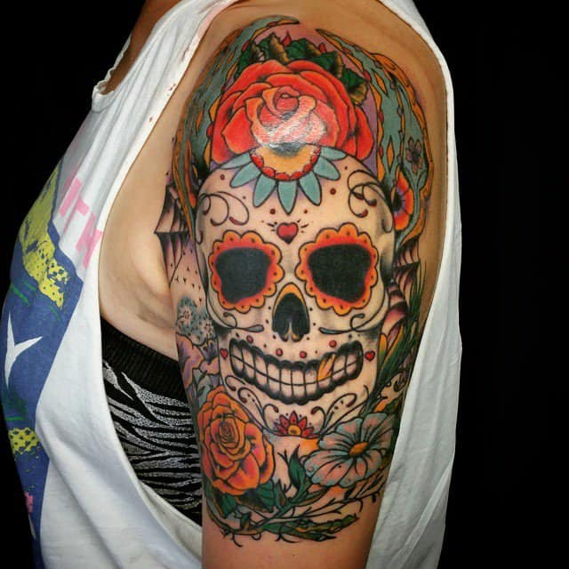women's sugar skull tattoo 3
