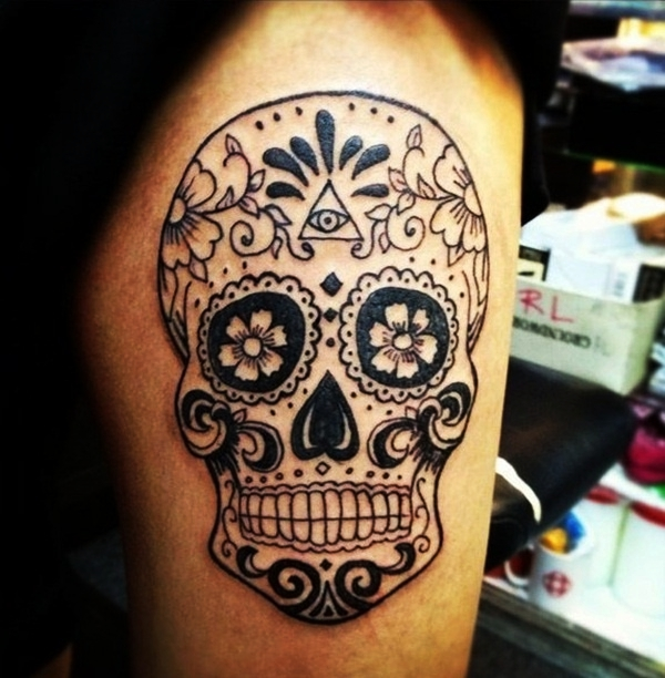 women's sugar skull tattoo 4