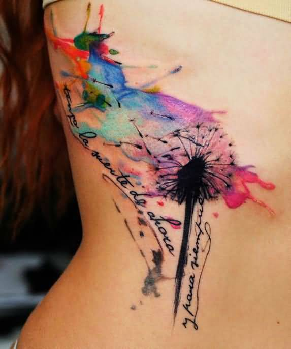 Simple-And-Nice-Watercolor-Dandelion-Tattoo-Design-With-Text
