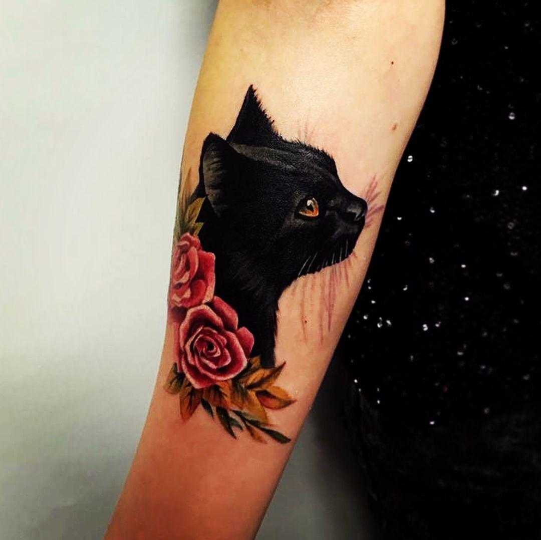 black cat tattoo 2