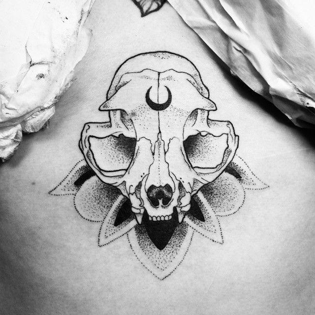 cat skull tattoo 1