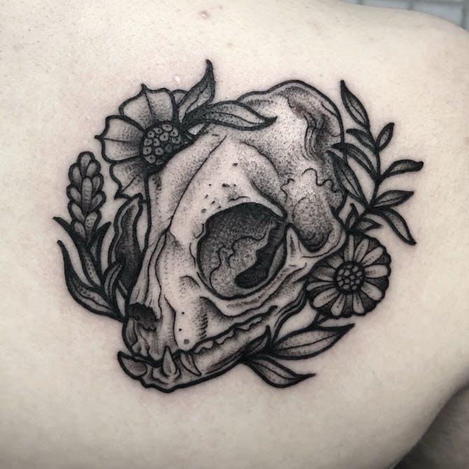 cat skull tattoo 2