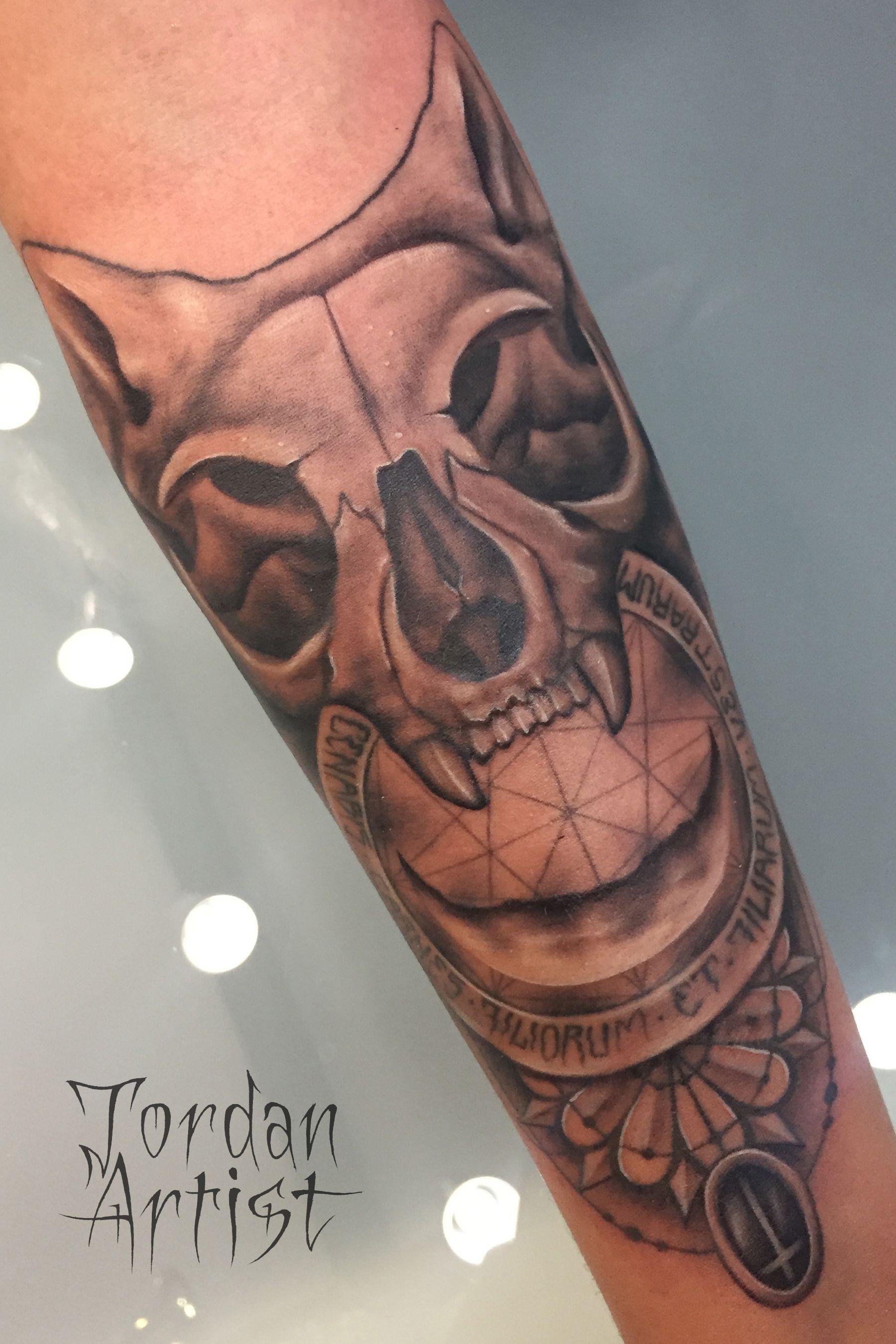 cat skull tattoo 4
