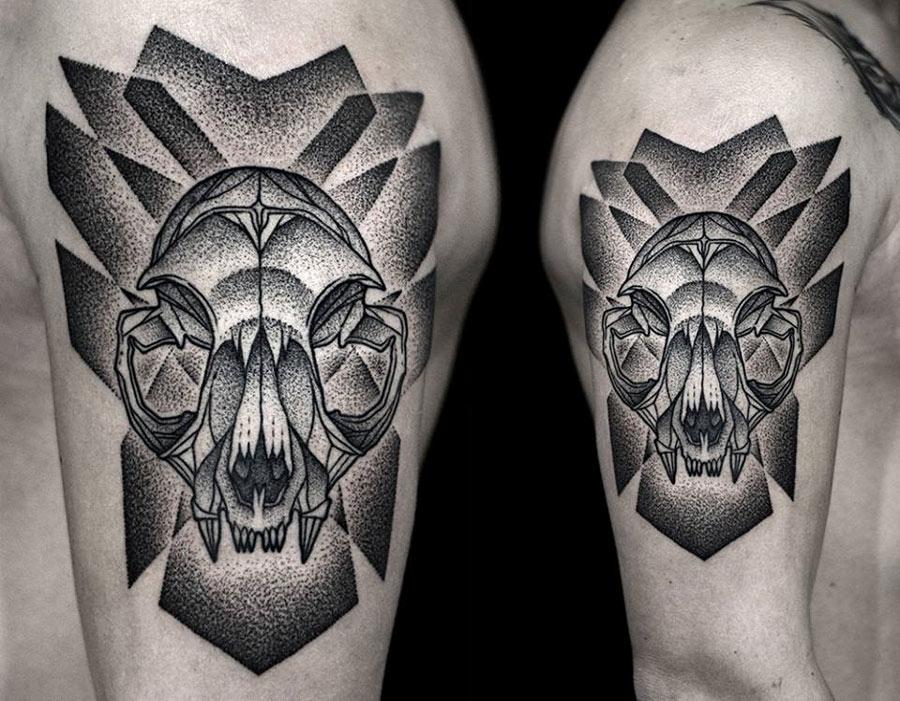 cat skull tattoo 5