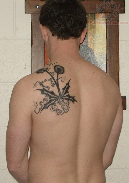 dandelion-back-shoulder-tattoo-for-men