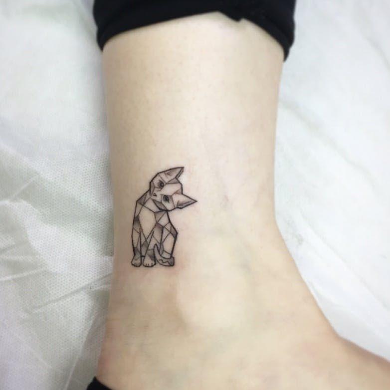 geometric cat tattoo 10