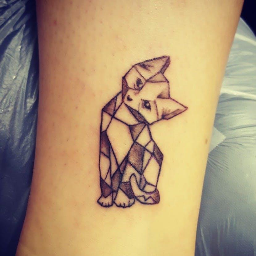 geometric cat tattoo 2