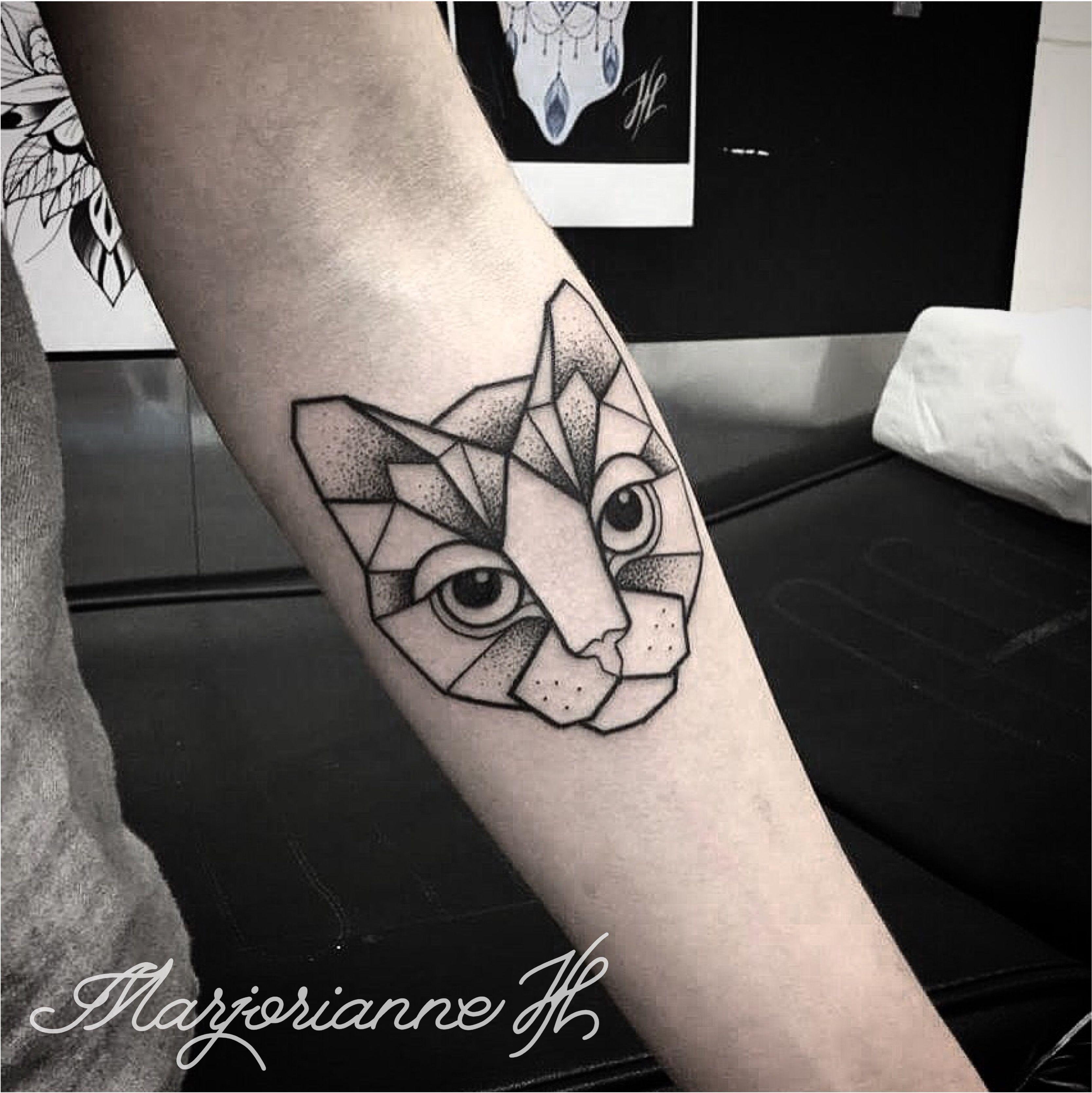 geometric cat tattoo 4