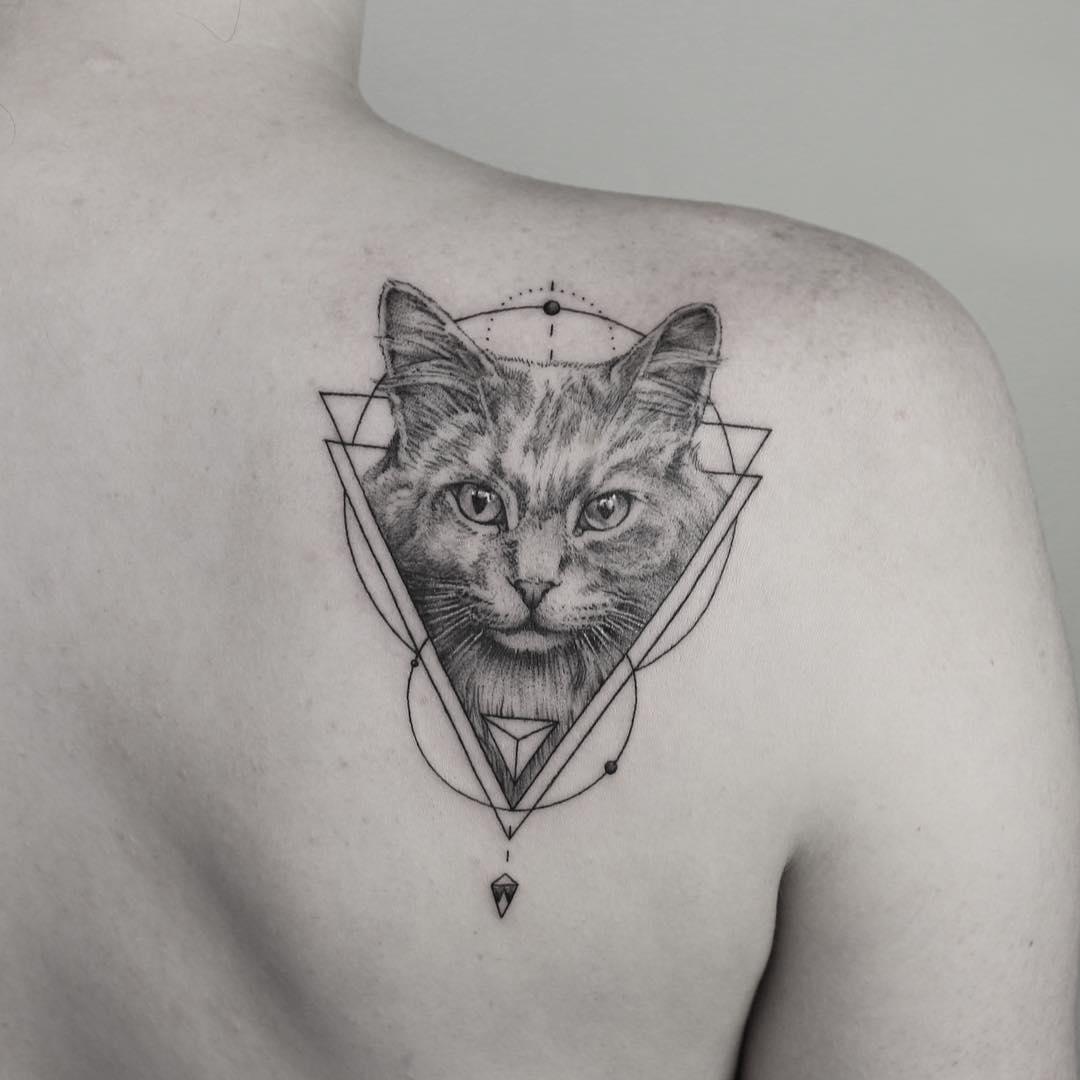 geometric cat tattoo 5