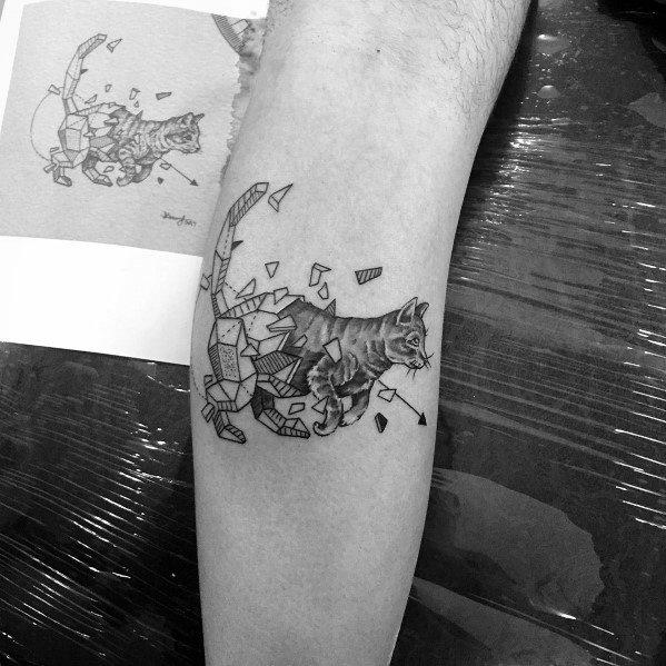 geometric cat tattoo 6