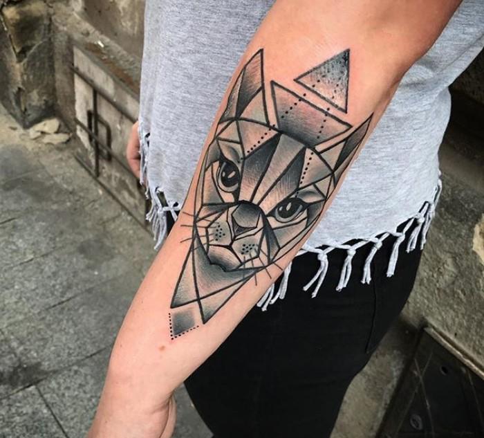 geometric cat tattoo 7