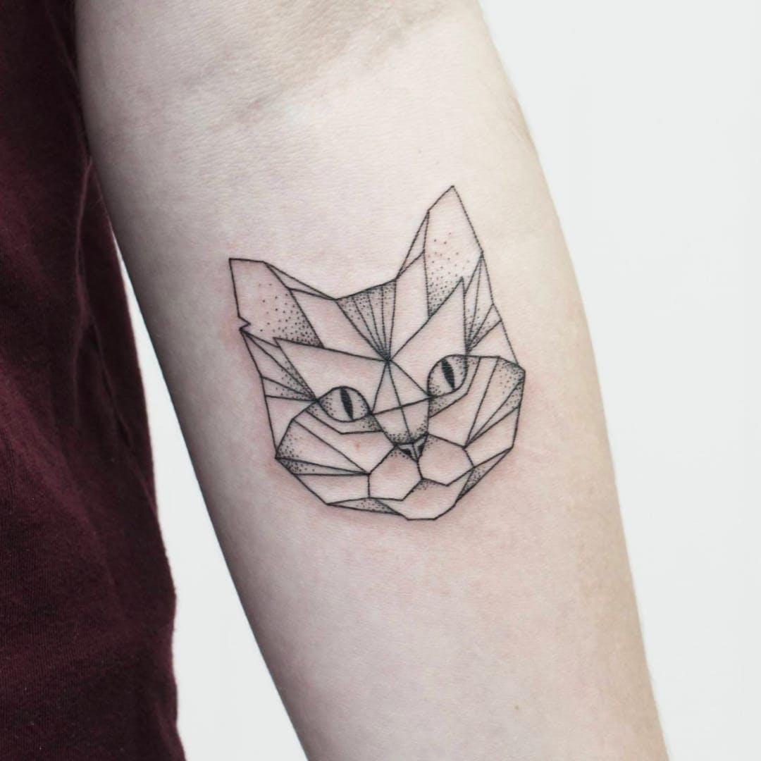 geometric cat tattoo 8