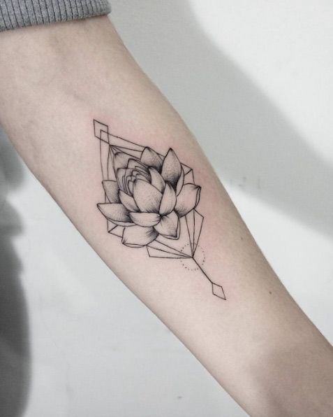 geometric lotus flower tattoo 1