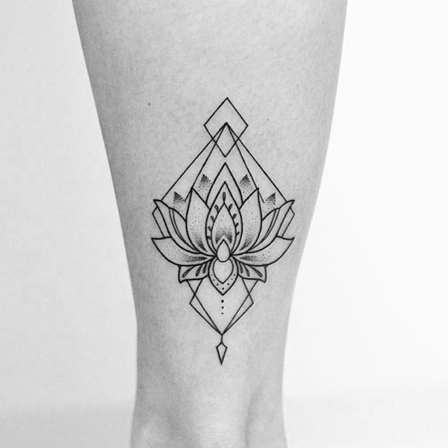 geometric lotus flower tattoo 4