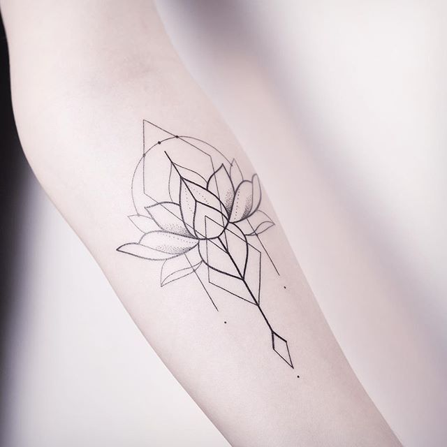 geometric lotus flower tattoo 6