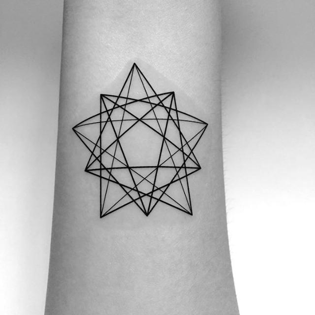 geometric star tattoo 14