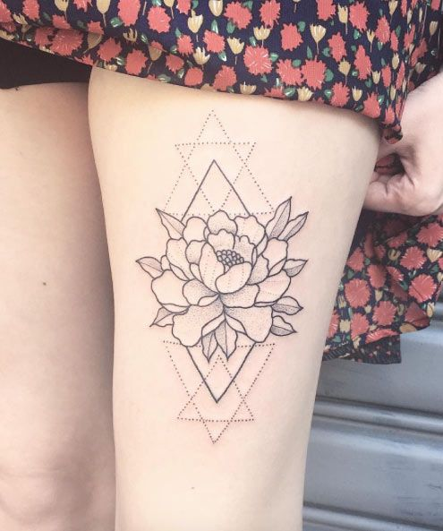 geometric thigh tattoo 1