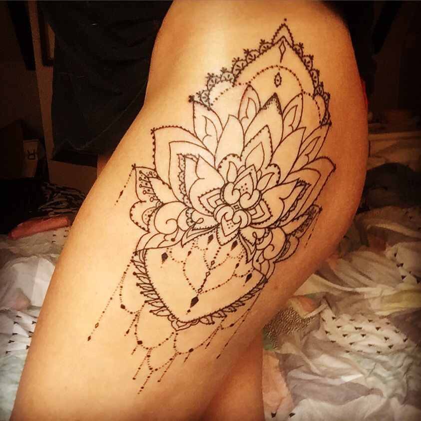 mandala thigh tattoo 2