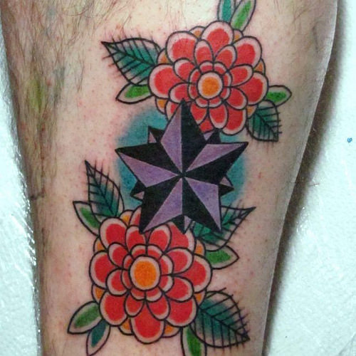 neotraditional star tattoo 6