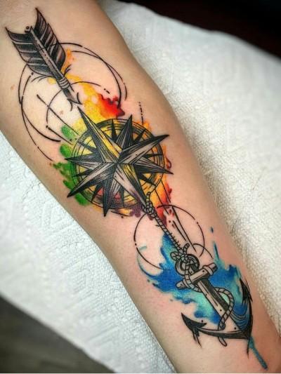 watercolor arrow tattoo 8
