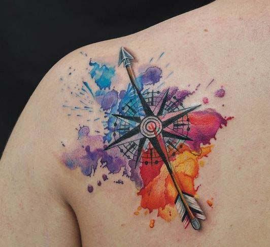 watercolor arrow tattoo 9