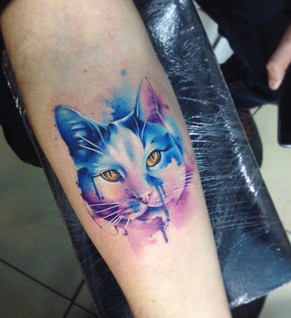 watercolor cat tattoo 1